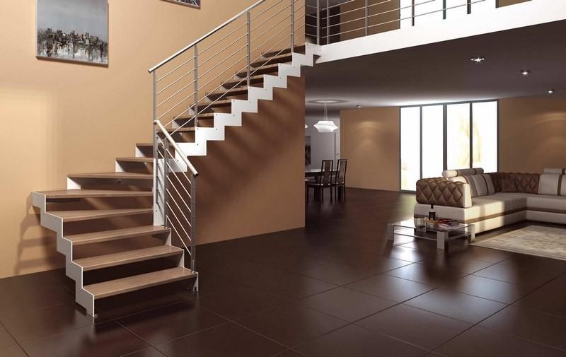 تصویر پله چوبی قهوهای