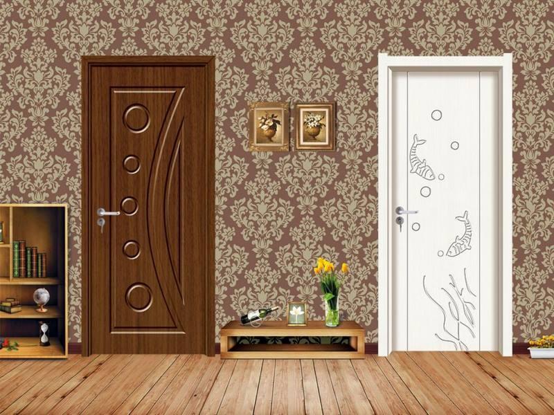 تصویر درب چوبی سفید و قهوهای