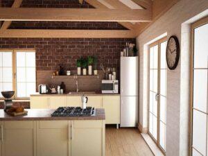 تصویر دکوراسیون آشپزخانه کرم قهوهای